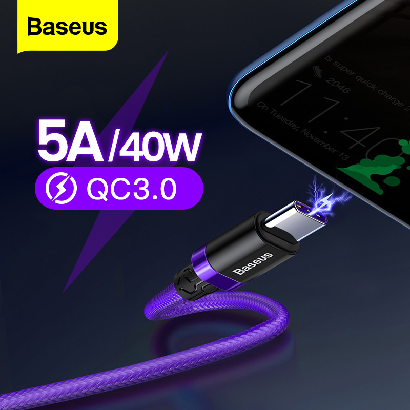 Baseus 5A USB Type C Cable For Huawei Mate 20 P30 P20 Pro Fast Charging Charger USBC Type C Cable For Samsung S10 Xiaomi mi 9 8|Mobile Phone Cables| |  - AliExpress