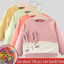 Рубашки с мультяшным кроликом для девочек зимняя весенняя детская