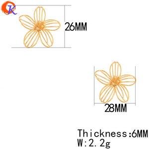 Image 3 - Cordial tasarım 30 adet 26*28MM takı aksesuarları/takılar/çiçek şekli/hakiki altın kaplama/el yapımı/küpe bulguları/DIY yapma