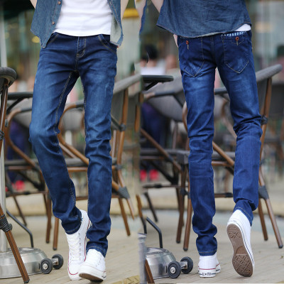 Spring And Summer Thin Jeans BOY'S Japanese-style Teenager Slim Fit Elasticity Casual Students Skinny Fine Leg Length Pants Fash