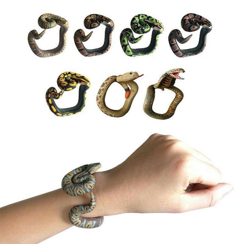 Simulation Snake Resin Bracelet Fake Snake Novelty Toys Scary Rattlesnake Cobra Horror Funny Birthday Party Toy Joke Prank Gift