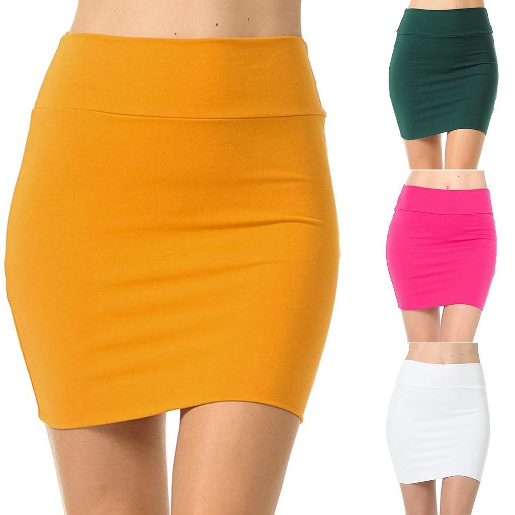 Womens High Waist Elastic Shirring Pencil Skirt Basic Simple Stretchy Tube Skirt
