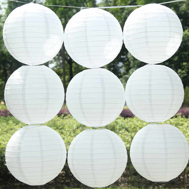 White Round Chinese Paper Lantern Wedding Birthday Party Decoration Holiday Supplies Paper Lamp Decor 10/15/20/25/30/35/40cm