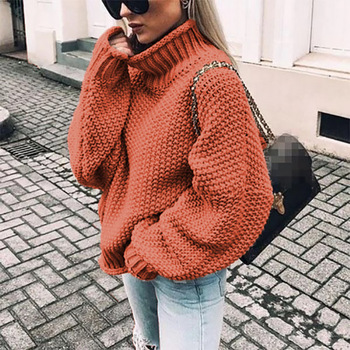 цена на 2020 New Style European and American-Style Sweater Thick Needle Half-Turtle-Neck Pullover Dolman Sleeve Sweater Loose Large Vers