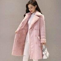 Women Suede Fur Winter Coat Fashion Thick Faux Sheepskin Long Jacket Overcoat Female Solid Warm Trench Coats Winter Jacket Women