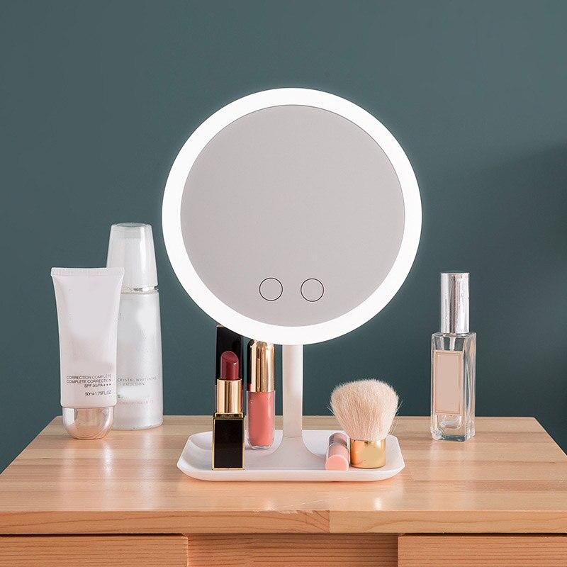 Led iluminado espelho de maquiagem desktop espelho