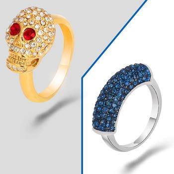 Anillo gótico de aleación con diamantes de imitación y calavera pirata para mujer, joyería de fiesta, anillos steampunk para hombre, envío gratis