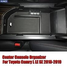 1Pc กล่องเก็บของที่เท้าแขนรถกล่องคอนโซลคอนโซลกลางถาดถุงมือสำหรับ Toyota Camry 2018 2019 LE SE LHD ABS อุปกรณ์เสริม
