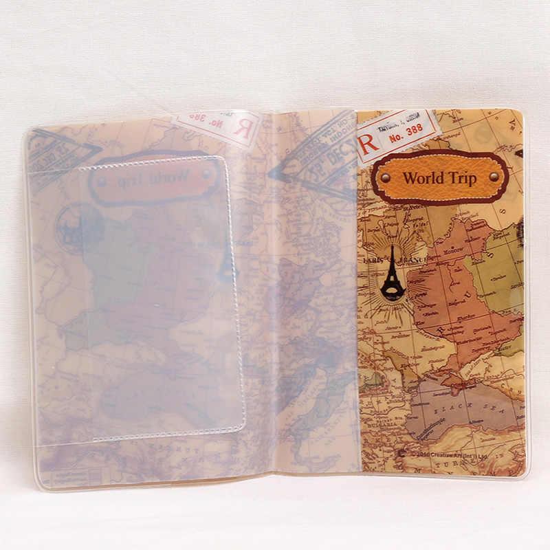 PVC Perjalanan Dunia Peta Perjalanan Paspor Covers untuk Wanita Pria Kartu ID Paspor Pemegang Paspor Dompet