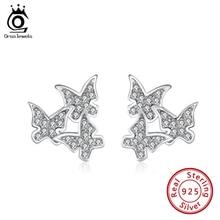 Stud-Earrings Jewelry 925-Sterling-Silver Women for Genuine Butterfly Gift SE275 ORSA
