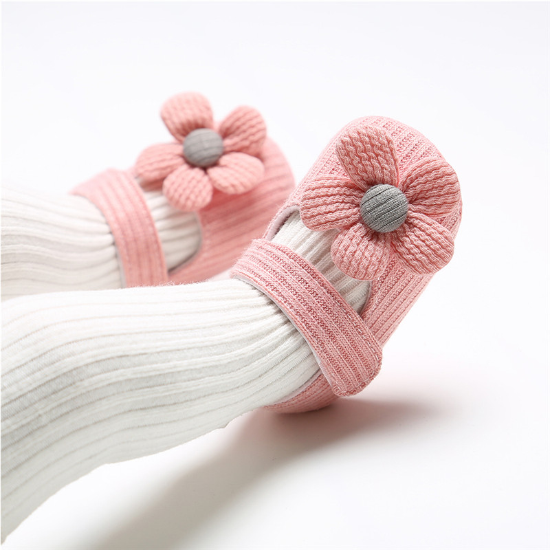 Newborn Baby Girl Flower Soft Crib Shoes Infant Sneakers Knitted Autumn Winter Princess Prewalker Trainers 0-18M