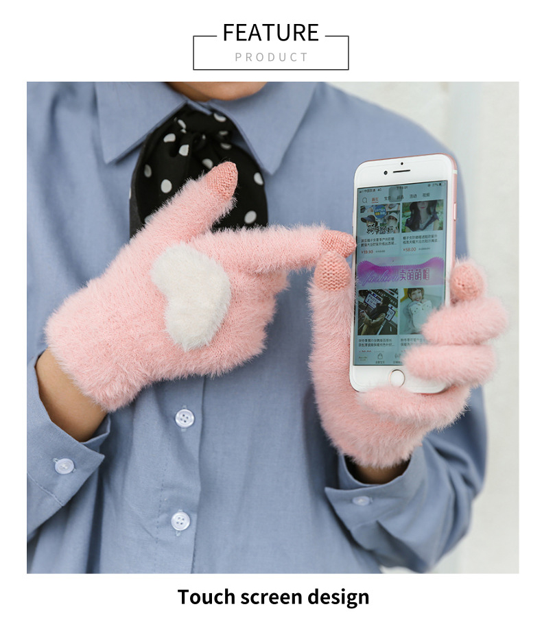 Fashionable and Knitted Touch Screen Gloves for Women Made of Soft Rabbit Wool with Pink Heart Design 10
