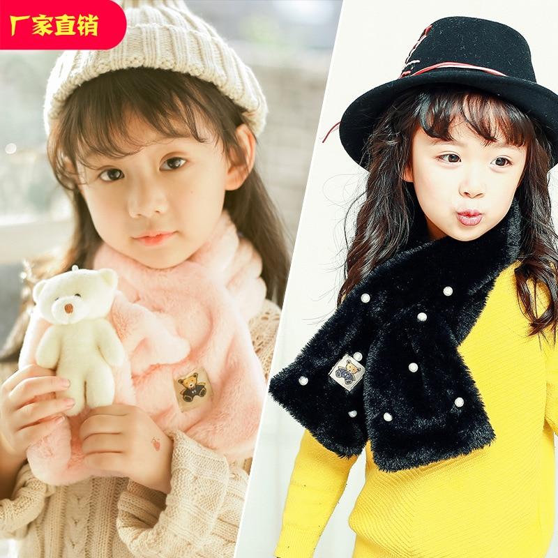 423 Evaluated Scarf Autumn And Winter BOY'S Girls Baby Scarf Cartoon Plush Warm Imitation Rabbit Fur Scarf Batch
