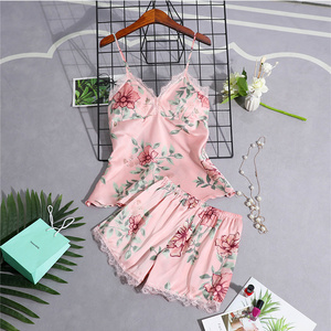 Image 4 - Pajamas Women Pajama Sets Women Sleepwear Lace Summer Babydolls Womens Pajamas Night Suit Silk Like Floral Lingerie Sleepwear