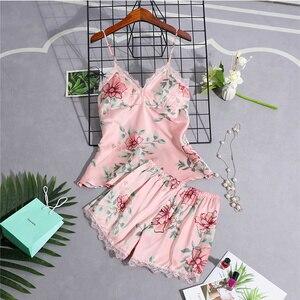 Image 4 - Pyjamas Frauen Pyjama Setzt Frauen Nachtwäsche Spitze Sommer Babydolls Frauen Pyjamas Nacht Anzug Seide Wie Floral Dessous Nachtwäsche