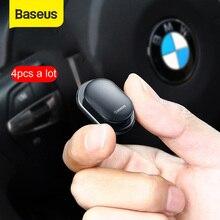 Baseus 4 個車のフックオーガナイザー収納 usb ケーブルヘッドホンキー収納自己粘着ウォールフックハンガー自動ファスナークリップ