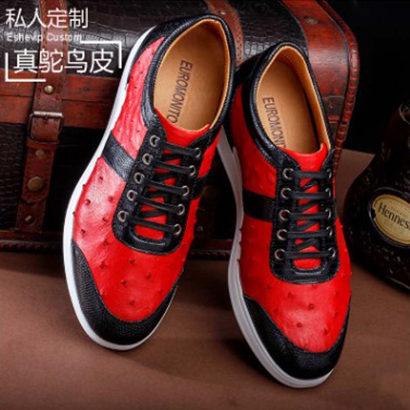 Ourui new true Ostrich leather Casual shoes male Genuine Ostrich leather Ostrich leather leisure sandals men shoes фото