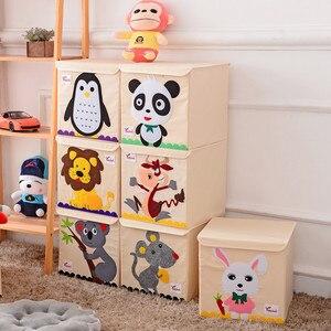 Image 2 - Nowy Cartoon haft ze wzorem zwierzęcia składany schowek myte Oxford tkaniny torba do przechowywania w szafie zabawki dla dzieci