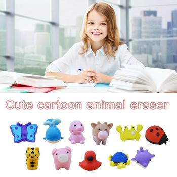 1pcs Random Style Varies Cartoon Animals Erasers Novelty Kinds Tiger For kids Turtle.. Cute Animal Different Dolphin Eraser I7O8 image