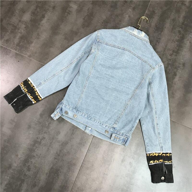 Nouveau mode chinois noeud rue Graffiti simple rangée bouton jean manteau court - 4