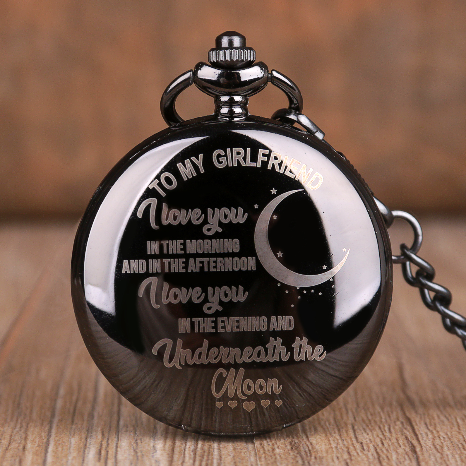 To My Girlfriend Design Gift Quartz Pocket Watch Smooth Black Pocket Watches With Fob Chain Collection Present