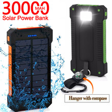 30000mAh Solar Power Bank Large-Capacity Portable Mobile Phone Charger LED Outdoor Travel PowerBank for Xiaomi Samsung IPhone