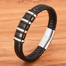 Multi-layer Small Accessories Combination 4 Colors Selection Stainless Steel Men's Leather Bracelet Handsome Boy Simple Gift