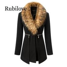 Rubilove faux fur Women Spring Autumn Fashion OL trench Black coats Outerwear 2019 Coat