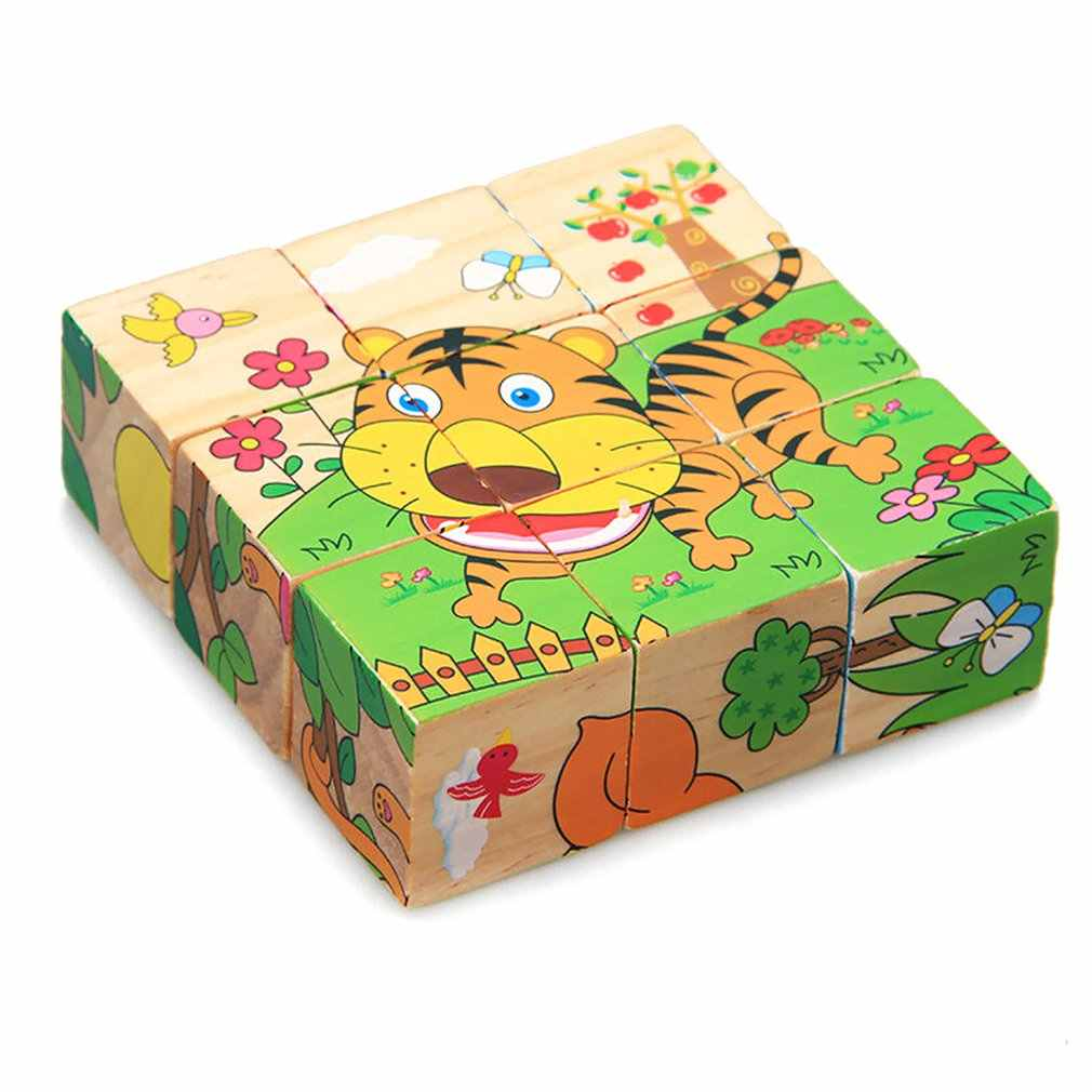 9pcs/lot 3D Kids Wooden Blocks Toys Animal Solitaire Domino Children Educational Toy Cartoon Print Wooden Cubes Toy Brinquedos
