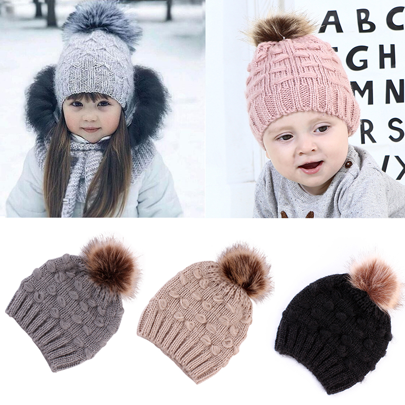 Mom Toddler Kid Girl/&Boy Baby Infant Winter Warm Crochet Knit Hat Beanie Cap Pom