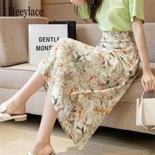 Summer Floral Print Chiffon Midi Skirts for Women 2021 New Elegant Female Fashion Elastic High Waist Casual Skirt