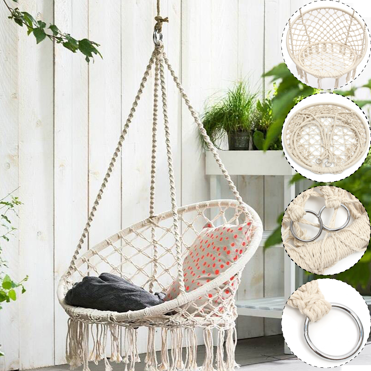 Hammock Chair Hanging Chair Swing With Soft Cushion & Durable Hanging Hardware Kit, Cotton Rope Indoor Macrame Swing Chairs For
