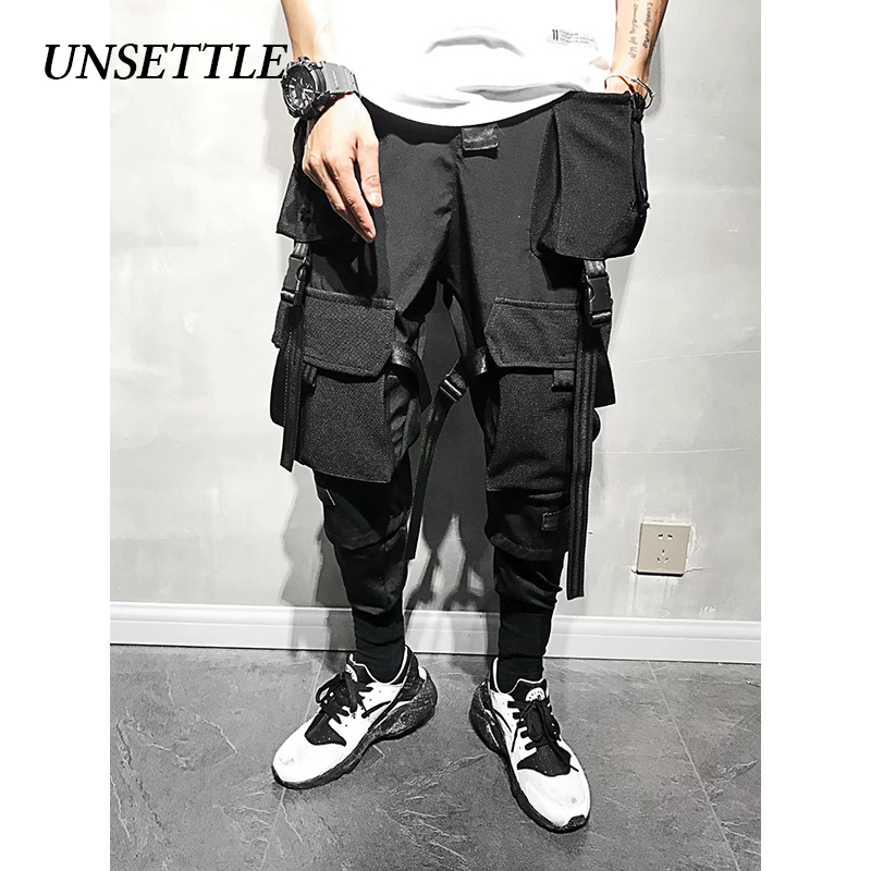 UNSETTLE 2020SS Men Multiple Pockets Cargo Harem Pants Hip Hop Casual Male Ninja Tatical Joggers Trousers Streetwear Ninth Pants