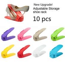Organizador de zapatos ajustable de 10 Uds. Estante de almacenamiento doble moderno para zapatos organizador de zapatos ahorrador de espacio estante de pie para sala de estar