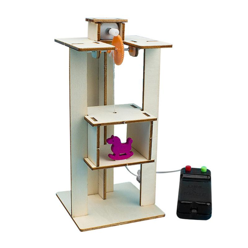 DIY Wood Assemble Electric Lift Elevator Develop Children Curiosity Creativity Kid Science Experiment Material Kit Toy