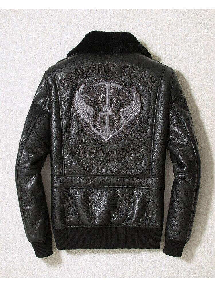 Winter Genuine Leather Jacket Men Sheepskin Coat Motorcycle Flight Jacket Embroidery Shearling Leather Jackets SWY-966