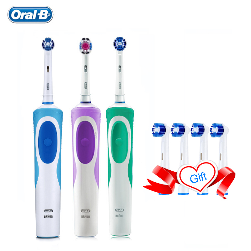 Oral B Vitality Electric Toothbrush Precision Clean 2 Mins Timer Rechargeable Teeth Brush with 4 Gift Replace Brush Head Oralb image