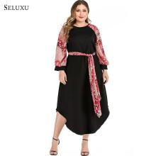 Seluxu 2019 Autumn Women Plus Size Women Dress vestido Dress Long Sleeve Patchwork vestidos Dress Women Large Size Elegant Dress