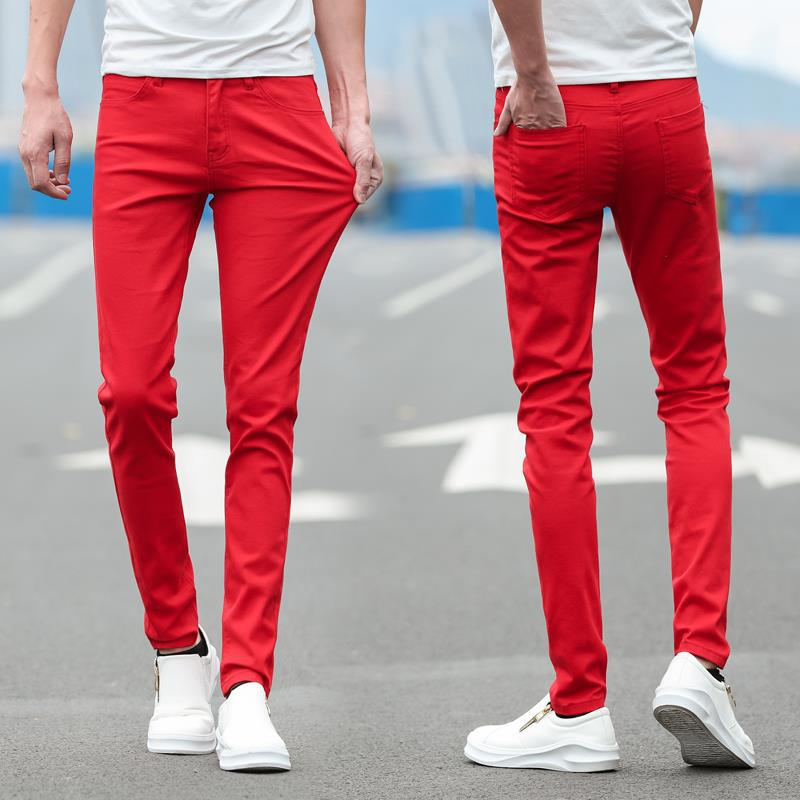 Pure Red Jeans Men's Slim Fit Elasticity Skinny Pants Korean-style Trend Of Fashion Women's Handsome Trousers New Style