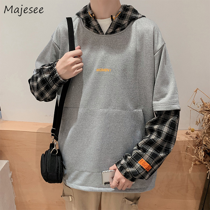 Men Hoodie Patchwork Oversize Casual Long Sleeve Harajuku Top Mens Hoodies Korean Fashions Plus Size Clothing Daily Hip Hop Soft