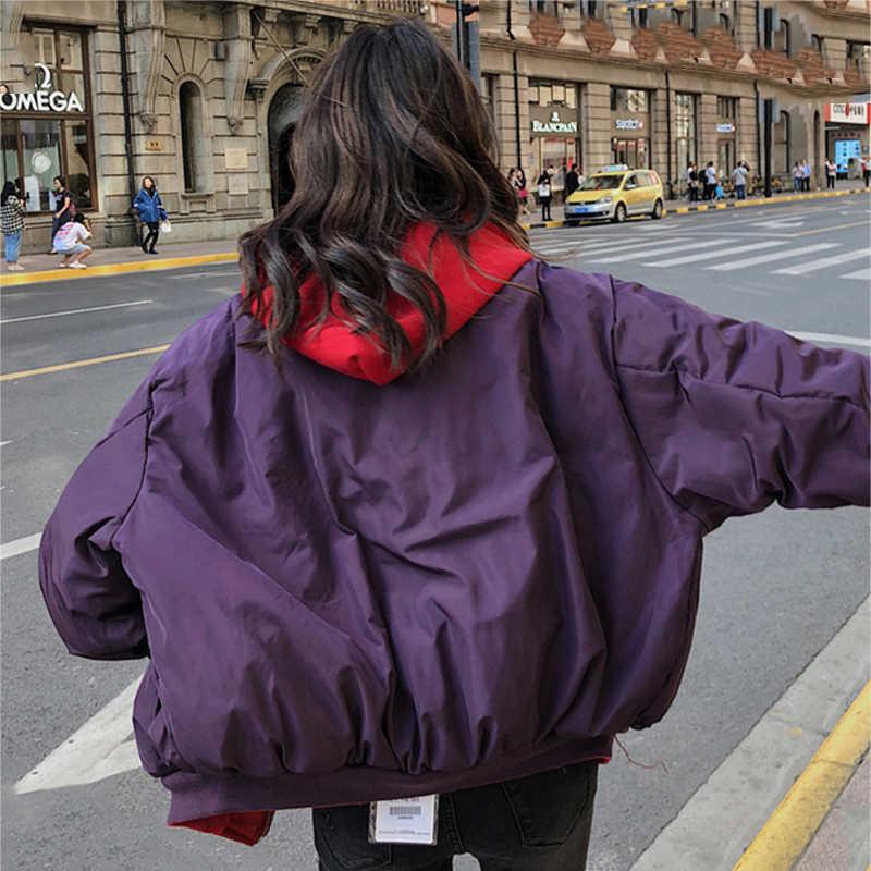 KMVEXO קוריאני סגנון 2019 אופנה חורף מעיל נשים ברדס כפול שני צדדים כותנה מרופד נקבה להאריך ימים יותר Parka Ovesized מעיל