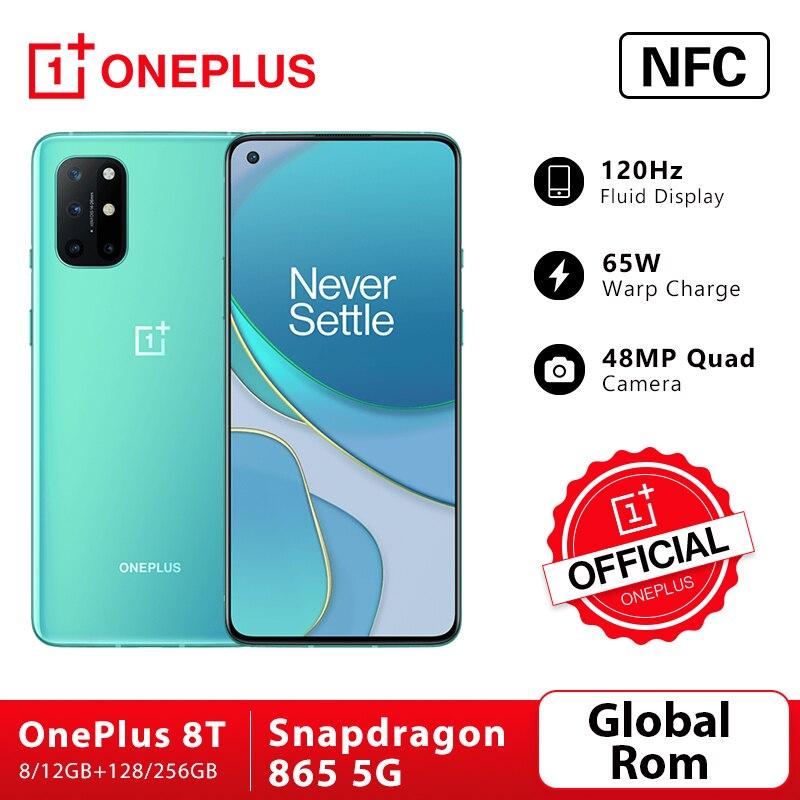 Global Rom OnePlus 8T 8 T 8GB 128GB Snapdragon 865 5G Smartphone 120Hz AMOLED Fluid Screen 48MP Quad Cams 4500mAh 65W Warp Cellphones  - AliExpress