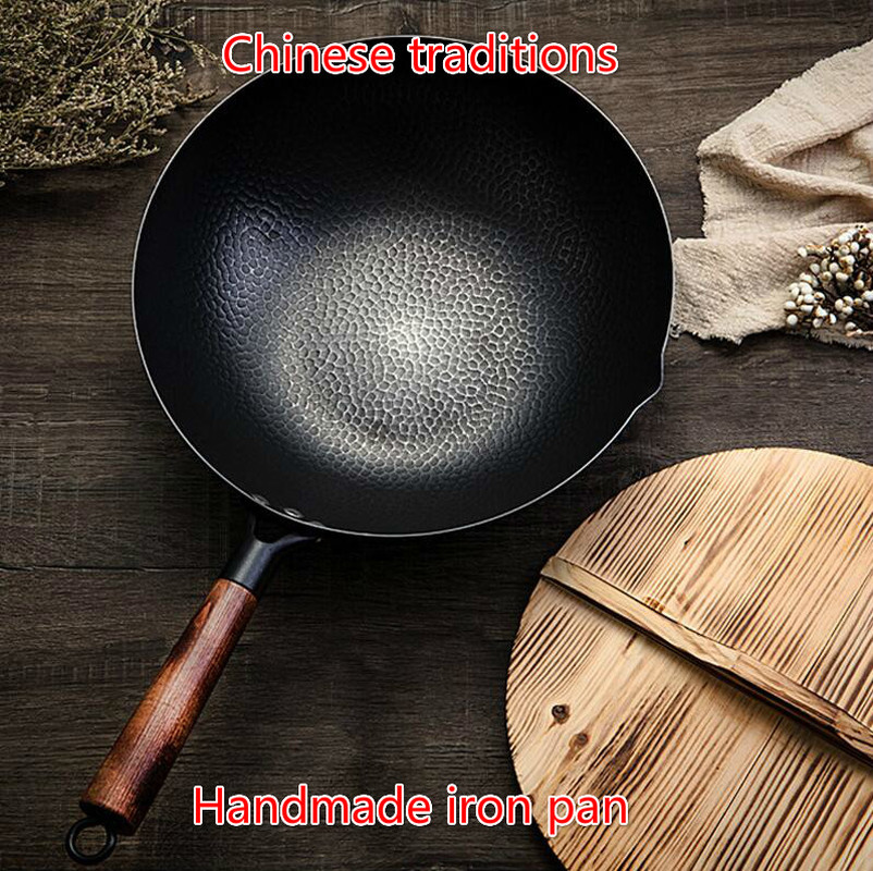 Flat Bottom Pot  Non-stick Pan Gas Stove Induction Cooker Universal Wooden Cover Handmade Iron Pot 32cm Uncoated Health Wok