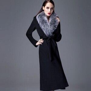 Image 4 - Высококачественное кашемировое пальто для женщин на осень и зиму, толстое теплое шерстяное пальто выше колена, утепленный шерстяной Тренч оверсайз с воротником из натурального меха лисы
