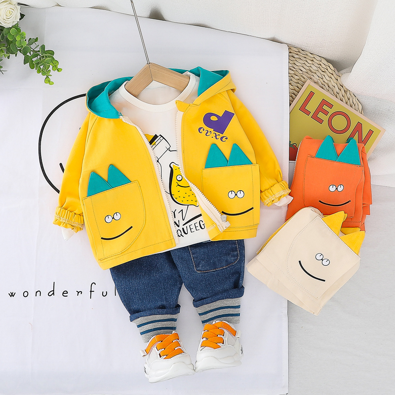 HYLKIDHUOSE Boys Clothing Sets 2020 Toddler Infant Spring Clothes Bbay Cartoon Hooded Coats T Shirt Jeans Children Clothing