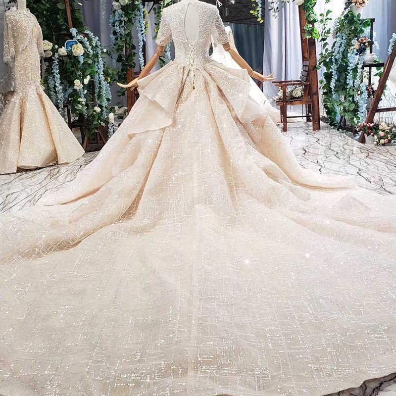 HTL702 כדור שמלת חתונה שמלת קתדרלת רכבת ואגלי קפל ללא משענת ראפלס יוקרה חתונת שמלת vestidos דה novia hermosos