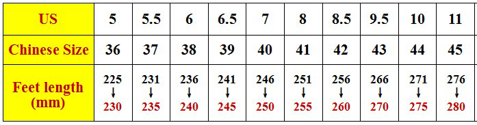 尺码表-1
