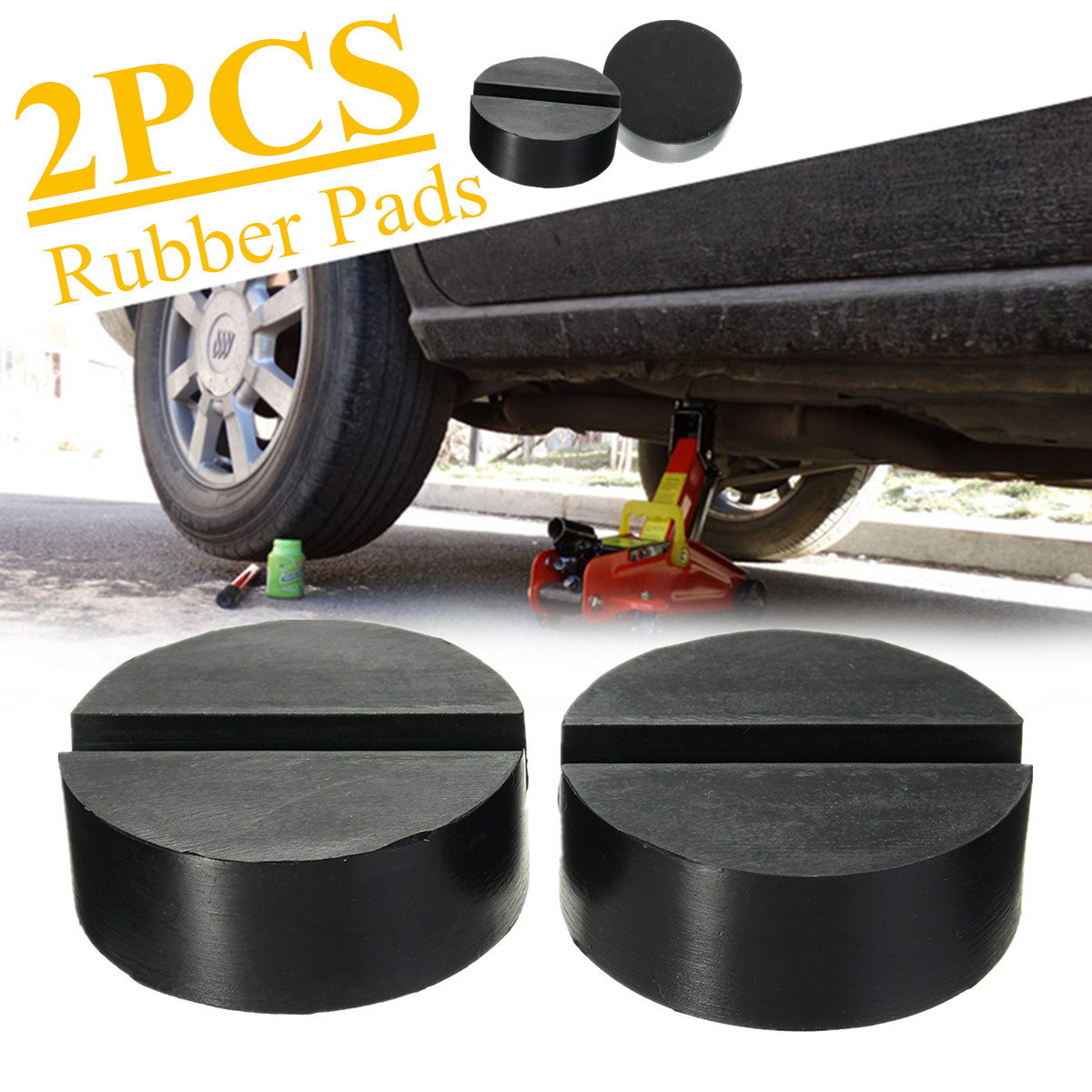2Pcs Car Lift J Ack Stand Rubber Pads J Ack' Pad Disc Hydraulic Black' Slotted Frame Rail Floor Guard Lift Tool Rubber Pads