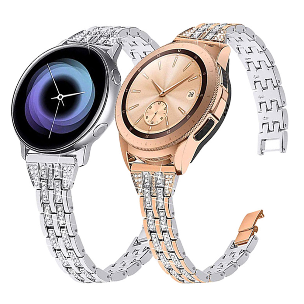 20mm Width Metal Crystal Diamond Band For Samsung Galaxy Watch 42mm Bracelet Wristband Women Strap For Galaxy Watch Active2 40mm
