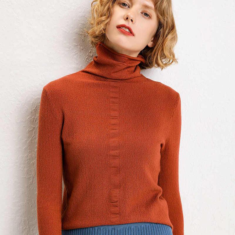2019 Musim Gugur Baru Musim Dingin Wol Pullover Tinggi Leher Sweater Wanita Lengan Panjang Warna Solid Base Coat Tinggi pendek Kerah Keluar Sweater